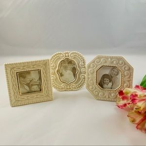 Set of 3 Miniature Scalloped Porcelain Frames